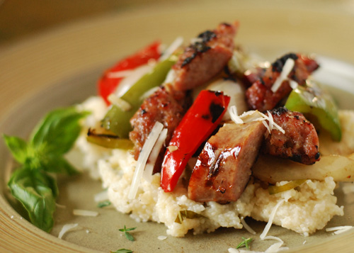 grilled peppers sausage and cheese grits