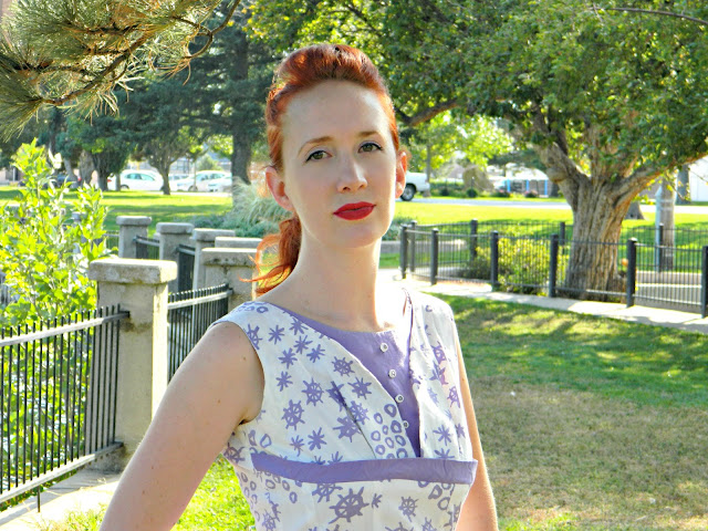 1950s nautical anchor sundress purple novelty print redhead vintage Just Peachy, Darling
