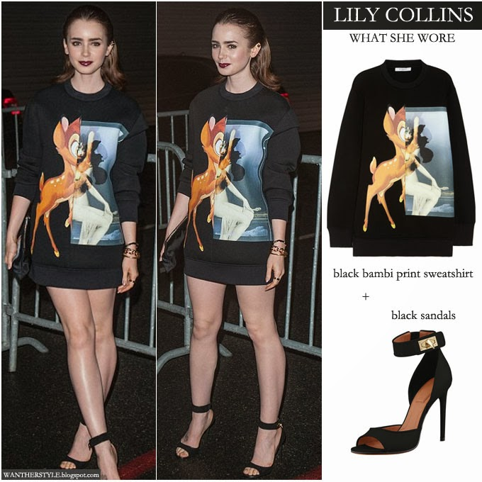 LIly Collins in black Bambi print sweatshirt Givenchy dress with black ankle strap open toe sandals - Want Her Style