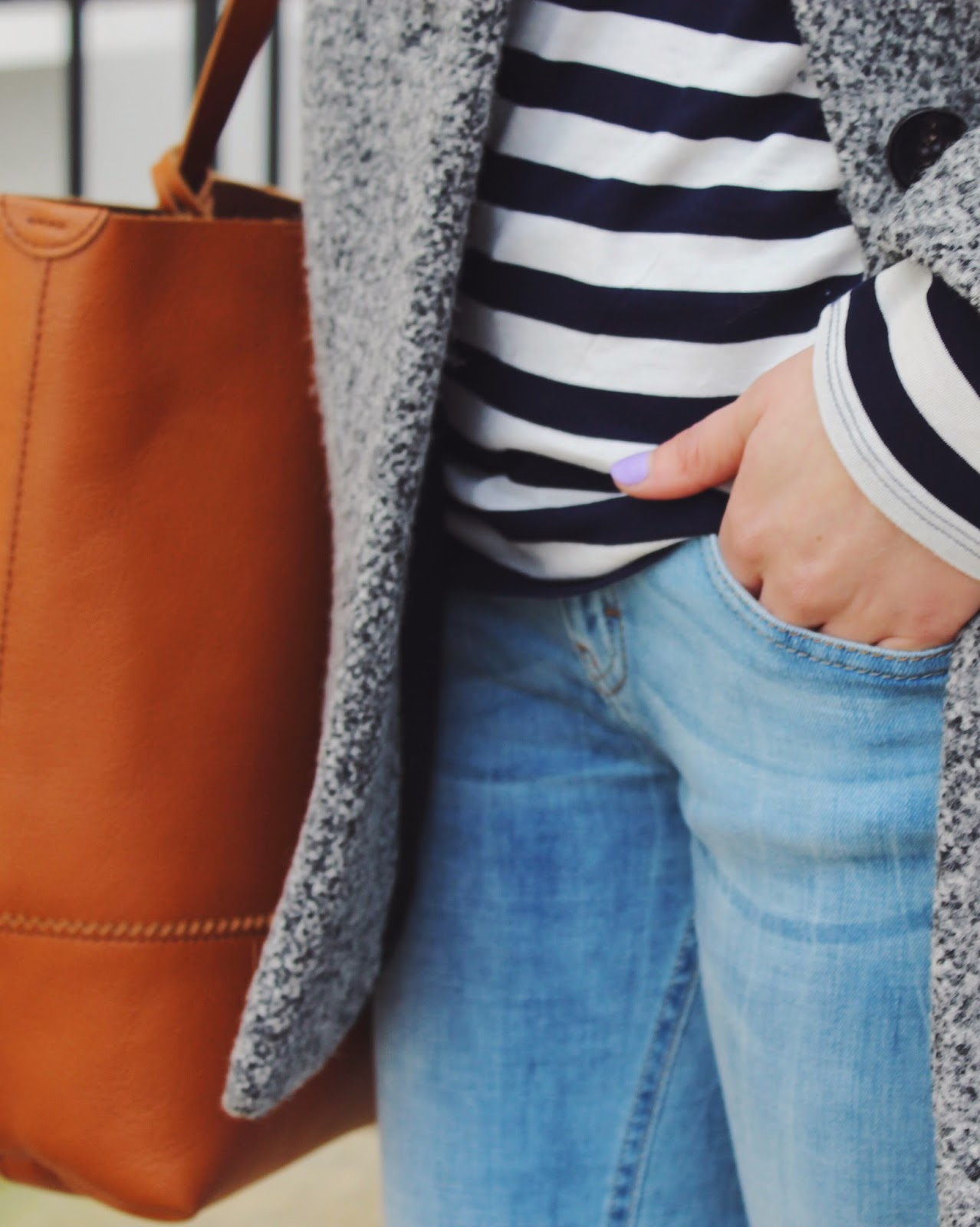 nails inc, j crew accessories, j crew bag, striped shirt, stripe shirt, boyfriend jeans, outfit of the day, fashion blogger, london blogger, german blogger
