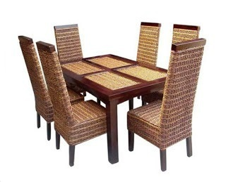 seagrass dining chairs set