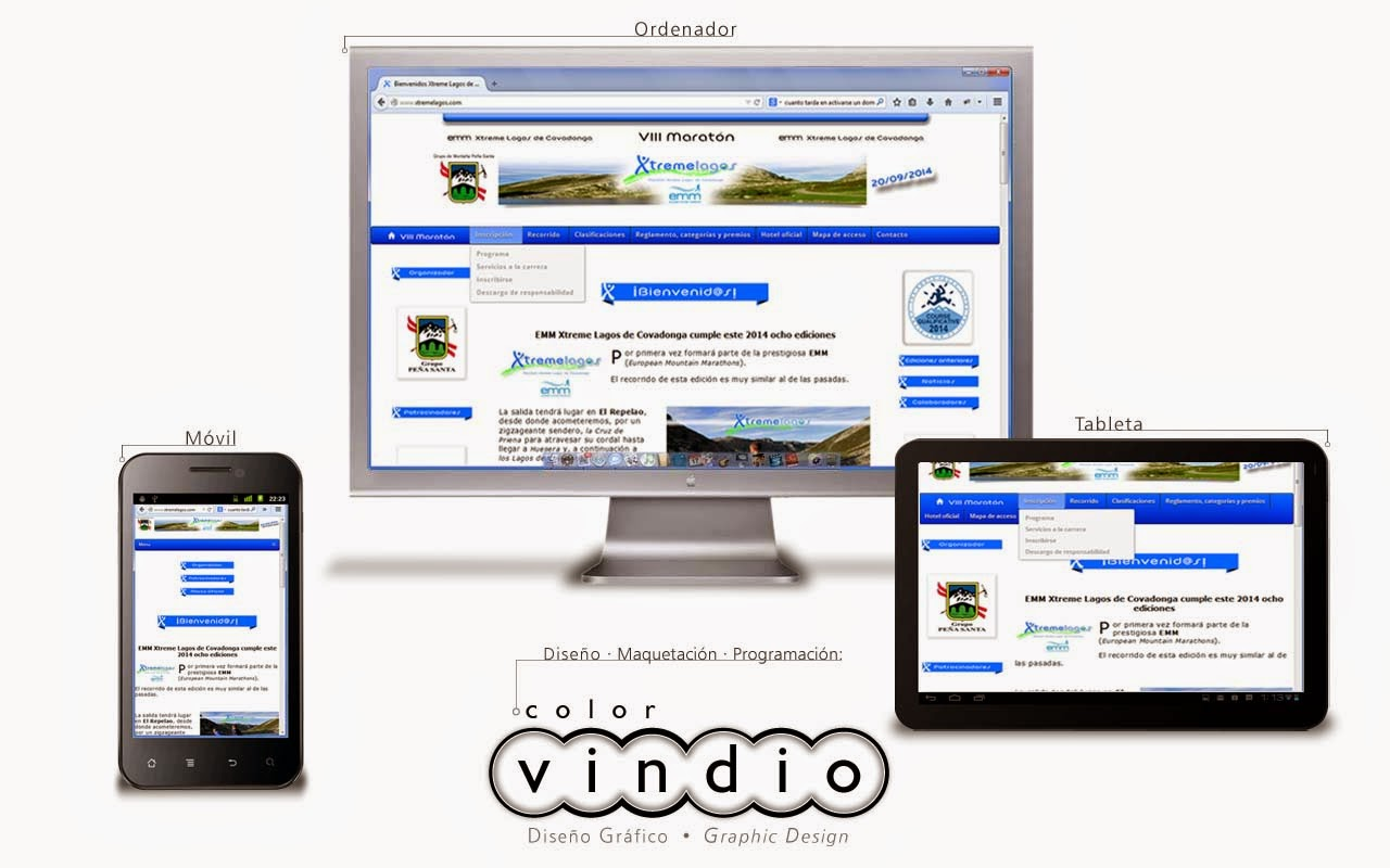 Web en tres dispositivos · Web in three displays