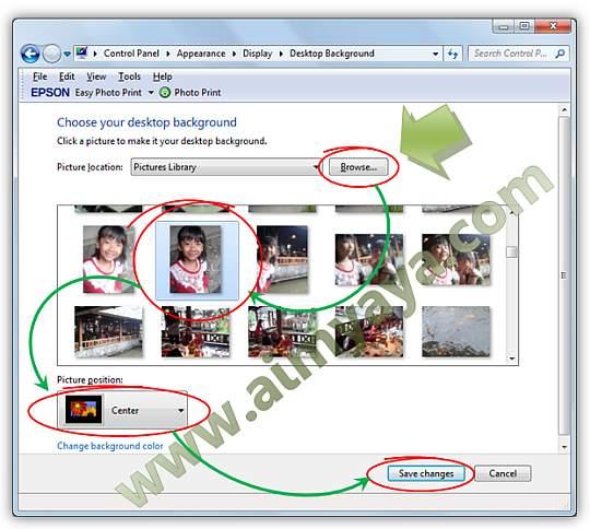 Gambar: Memilih dan Mengeset gambar yang akan dijadikan desktop background