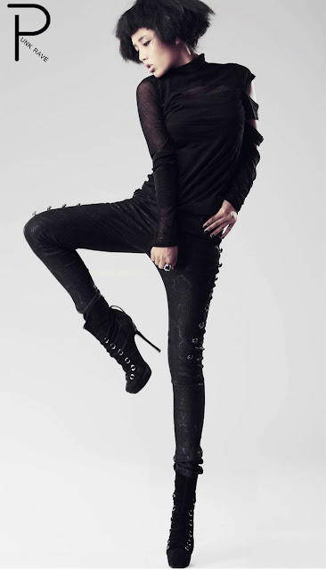 Autumn Winter Black Punk Pencil Pants for Women