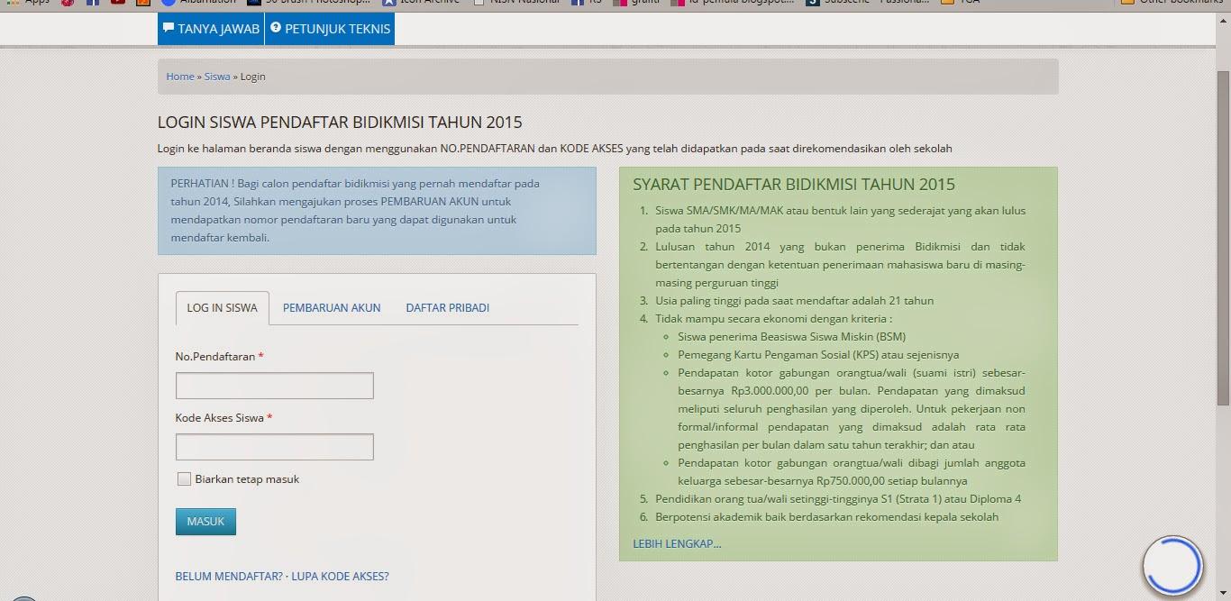 Dawasabe Bimbingan Mengisi Biodata Bidikmisi Online 2015