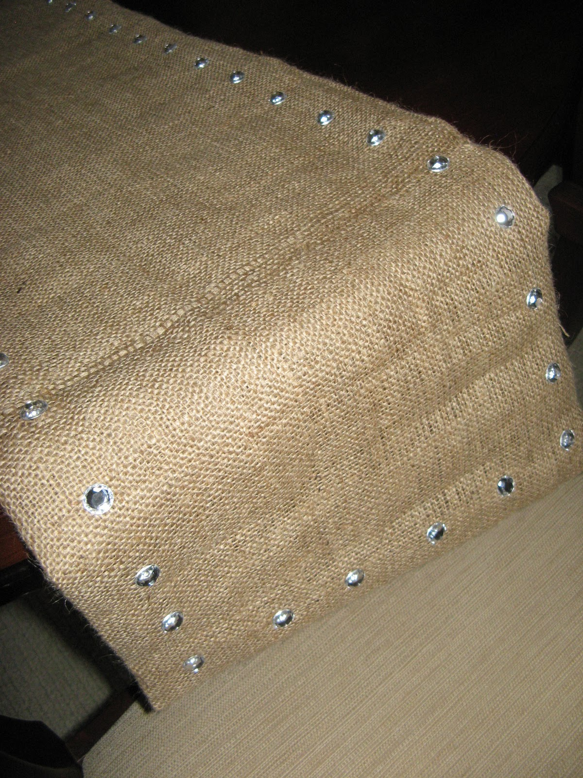 Burlap And Crystal Table Runner