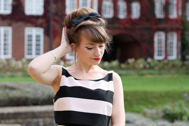 Coast Prena dress worn with 60s style up-do