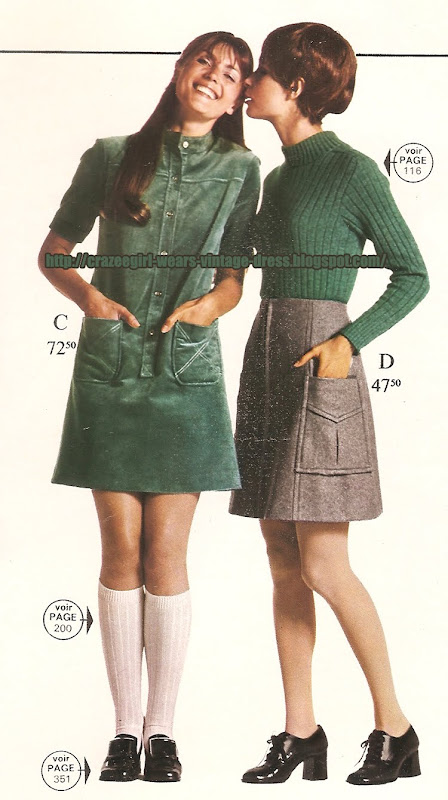 Dress , sweater and skirt - La Redoute - 1970 velvet green 70s