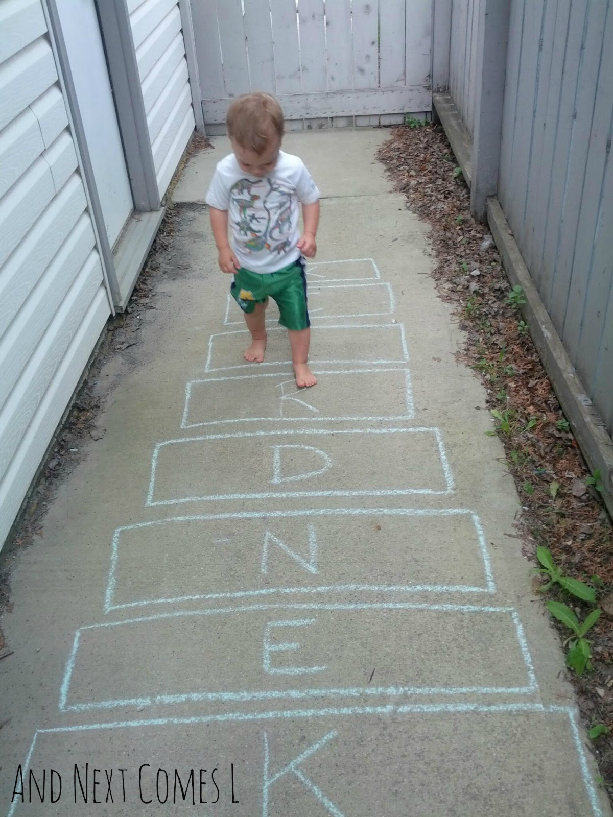 Xylophone hopscotch - 5 ways for kids to learn about music using sidewalk chalk from And Next Comes L