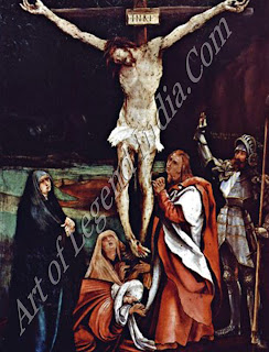 This is Grunewald's earliest depiction of the crucified Christ a subject he was to make his own. Longinus was the name given to the Roman centurion present at the Crucifixion who exclaimed (in the words of the inscription next to him) 'Vere fillius del erat ille' 'Truly this man was the son of God'. The gloomy landscape contributes much to the painting's mood.