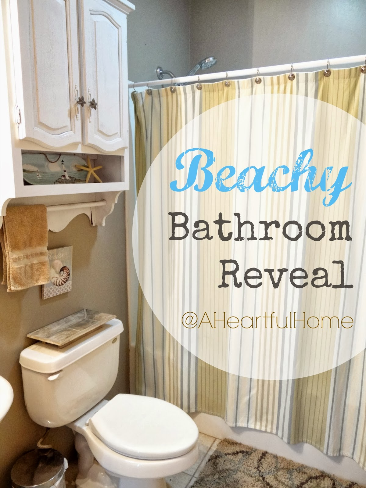 {31 Days Of Coastal Style} Beachy Bathroom On A Budget  Reveal!