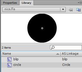 Gambar - Objek movieclip yang digunakan adalah Circle