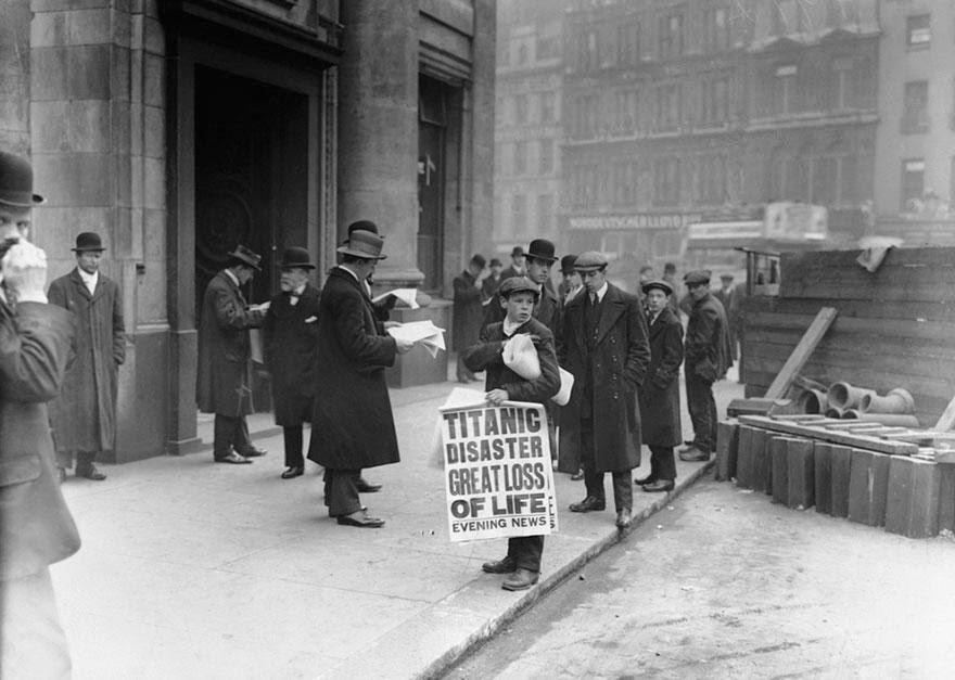 La noticia del hundimiento del Titanic