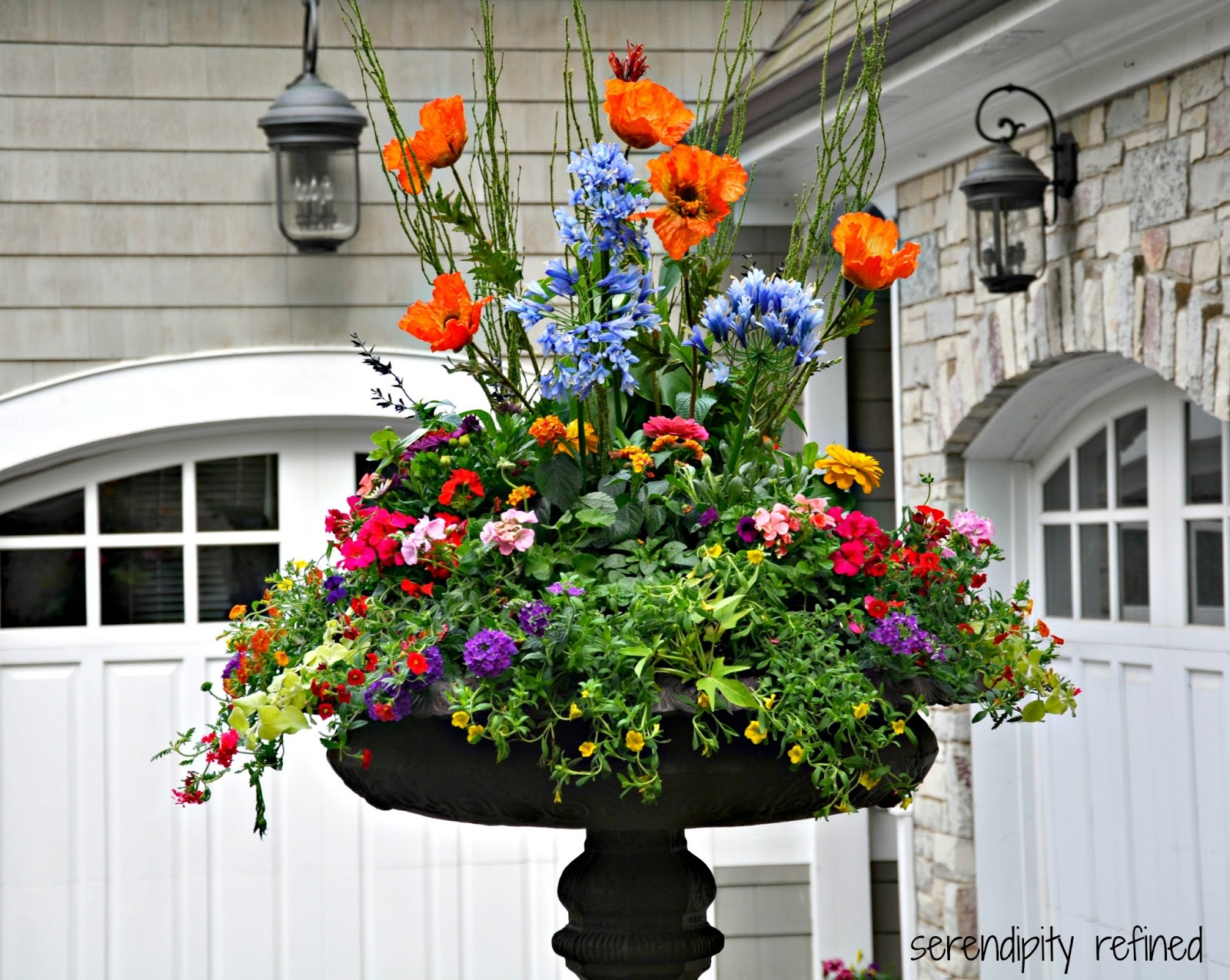 Colorful wicker patio furniture - Brightly Colored Annual Flowers Spring And Summer Urn Planter