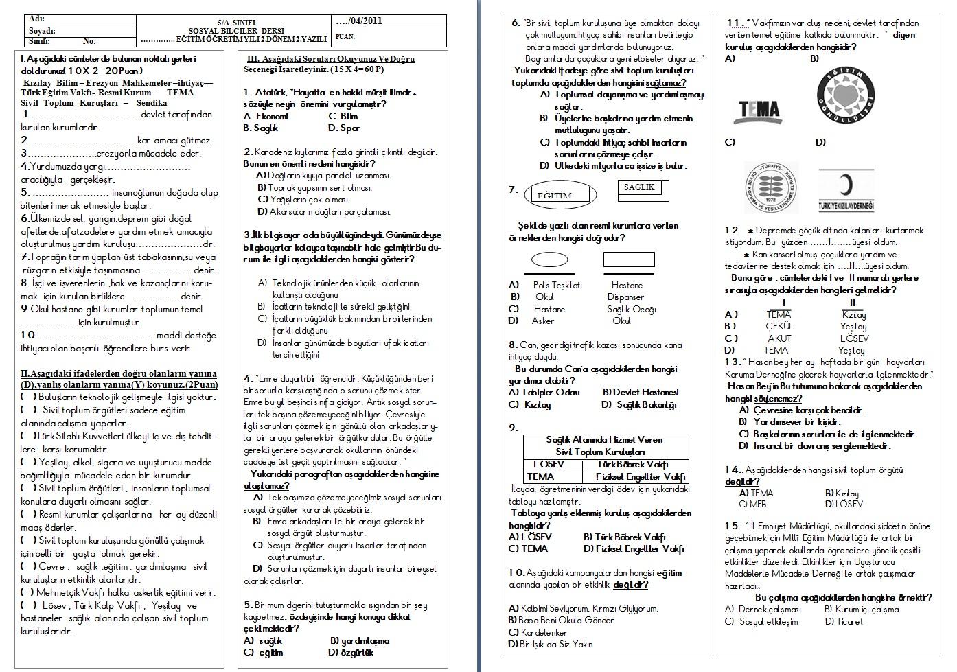 Sınıf sosyal bilgiler 2 dönem 2 yazılı