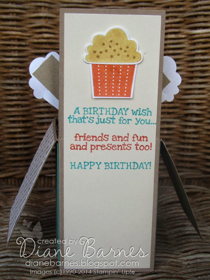 colour me happy cupcake pop up card in a box with template, Birthday card