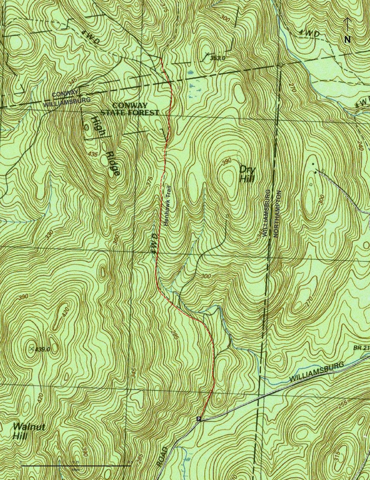 Henhawk Trail map