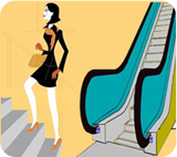 Cartoon of a slender woman choosing to walk up the stairs rather than use the escalator.