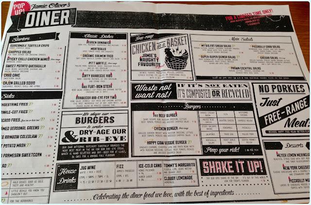 Jamie Oliver's Diner, London - Menu