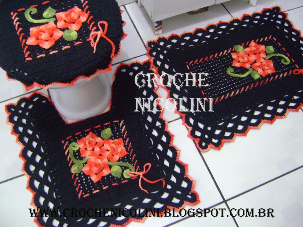 Croche Nicolini: Jogo de banheiro 3 peças #B23319 1024x768 Banheiro Azul E Marrom
