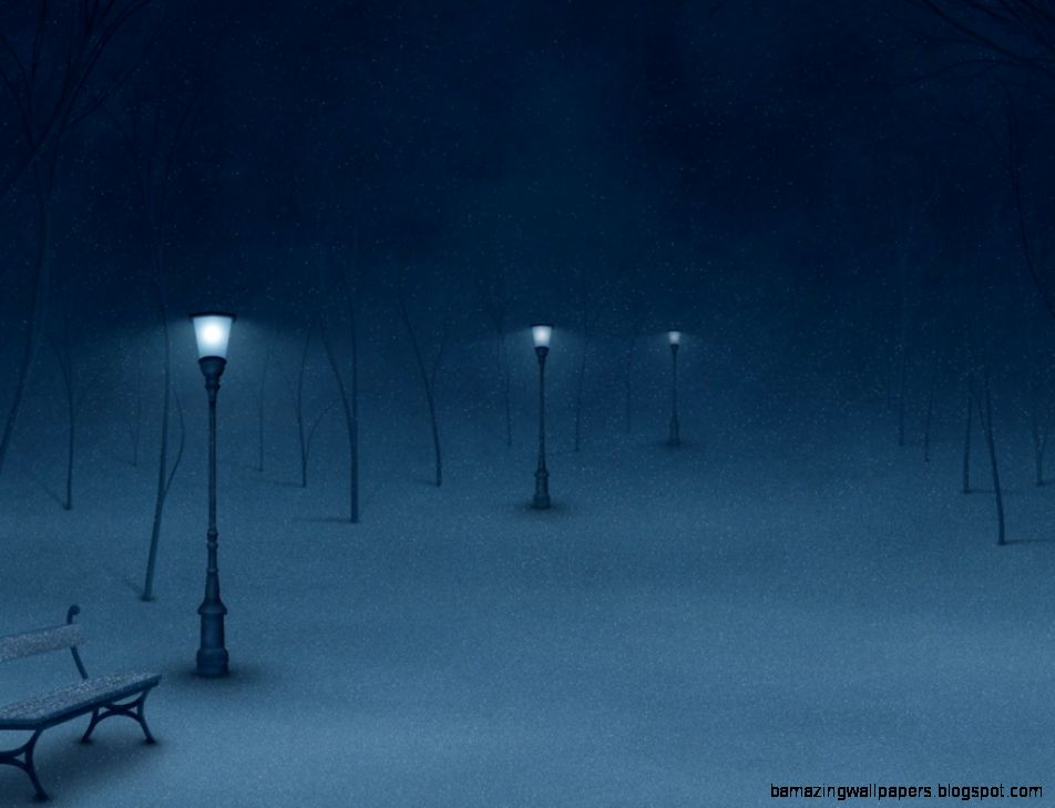 Winter Night Painting Wallpaper Download High Definition
