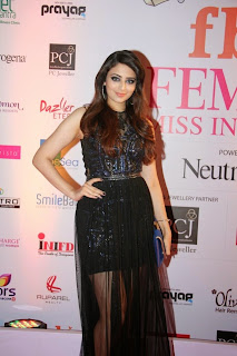 Zoya Afroz in Transparent Black Gown Short Skirt inside at The Femina Miss India 2015 Grand Finale