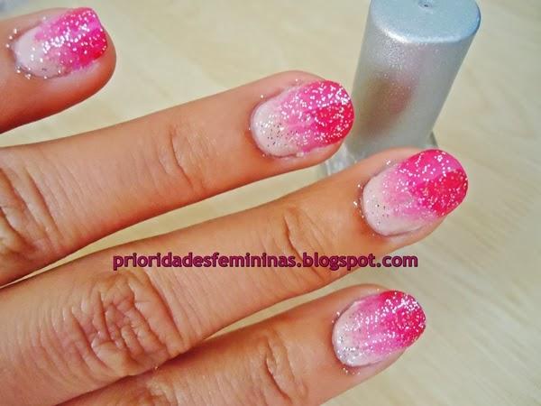 unha decorada, rosa, glitter