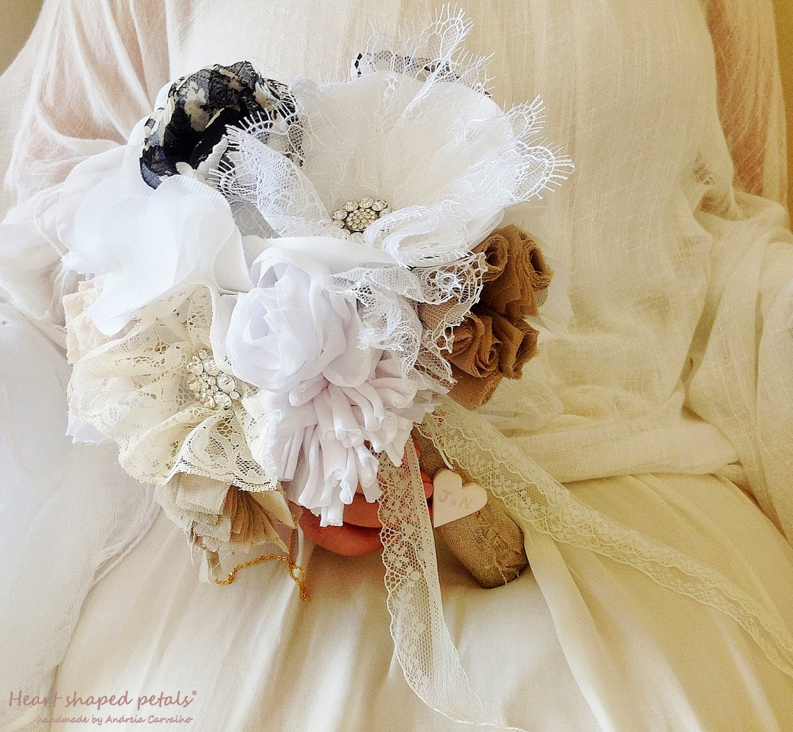 Original shabby chic fabric bouquets