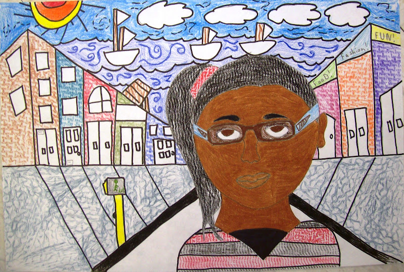 with this in mind eighth grade students were asked to draw their self portraits and include a background that showed perspective