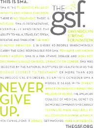 Never Give Up.  Help put an end to SMA. Get involved today