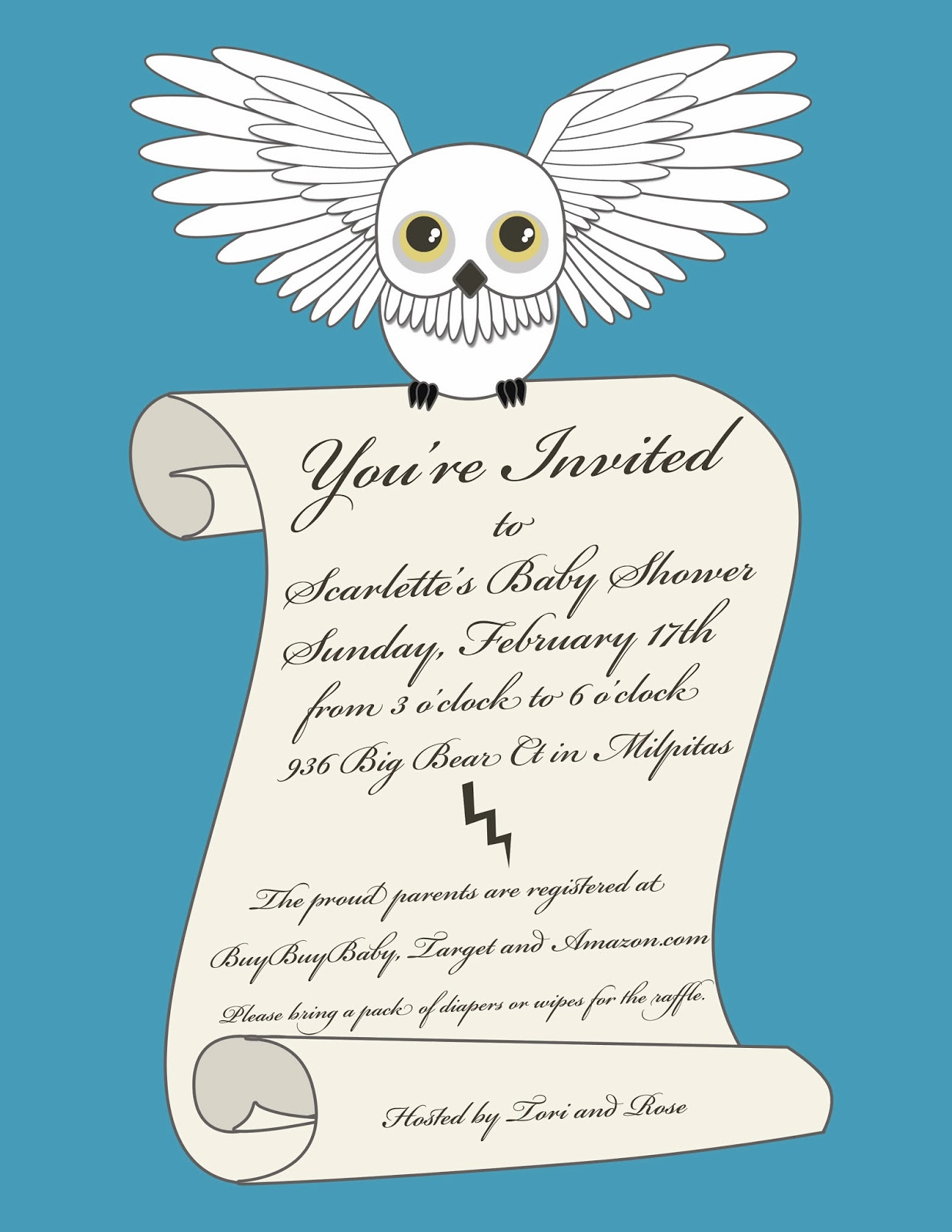 NotoriousStar Designs: Harry Potter Baby Shower Invitation