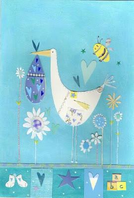 cigüeña en azul decoraciones para niños y niña