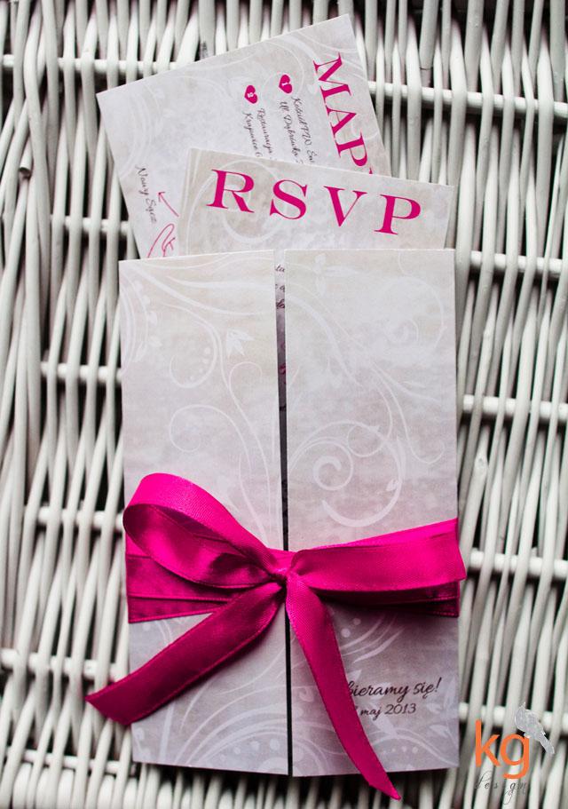 zaproszenia ślubne Bochnia, oryginalne, nietypowe zaproszenia ślubne. vintage, malinowy, indywidualny projekt, artystyczne zaproszenie, RSVP, mapka dojazdu