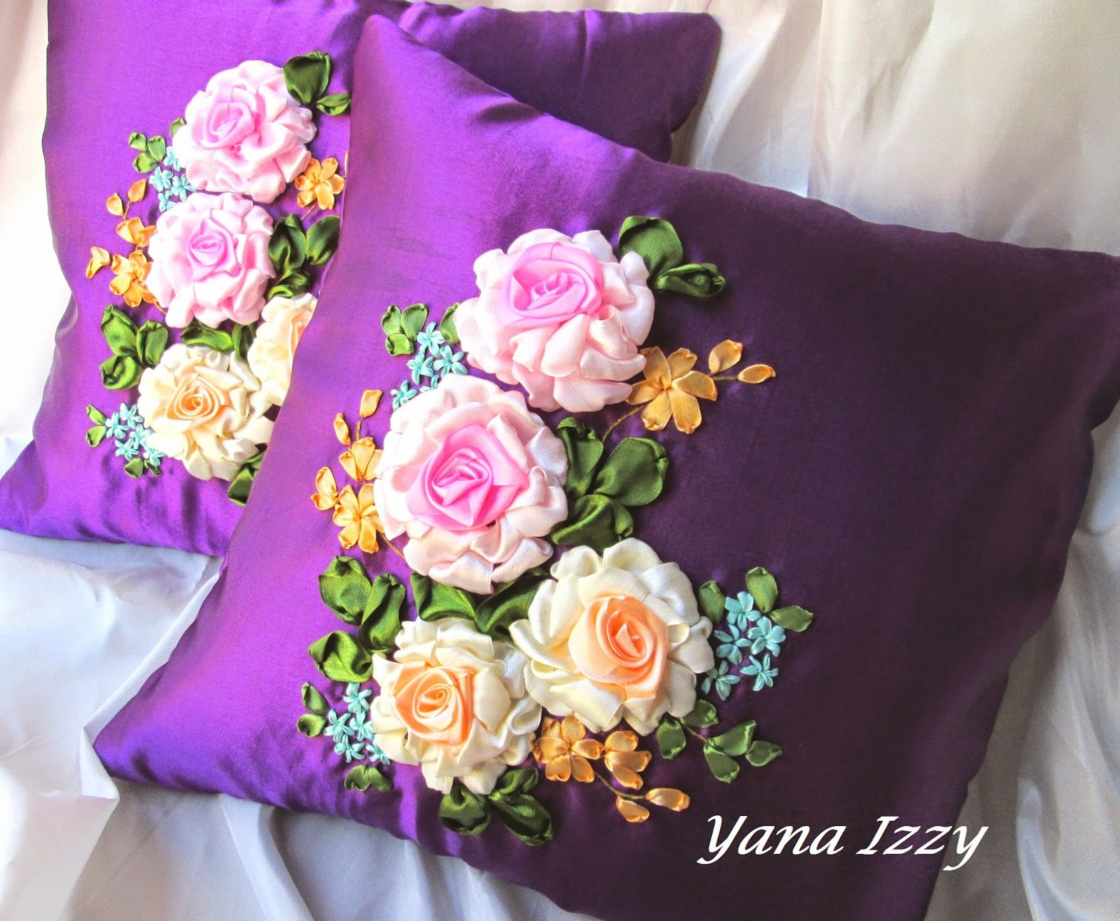 Yana izzy s creative zone ribbon embroidery cushion cover