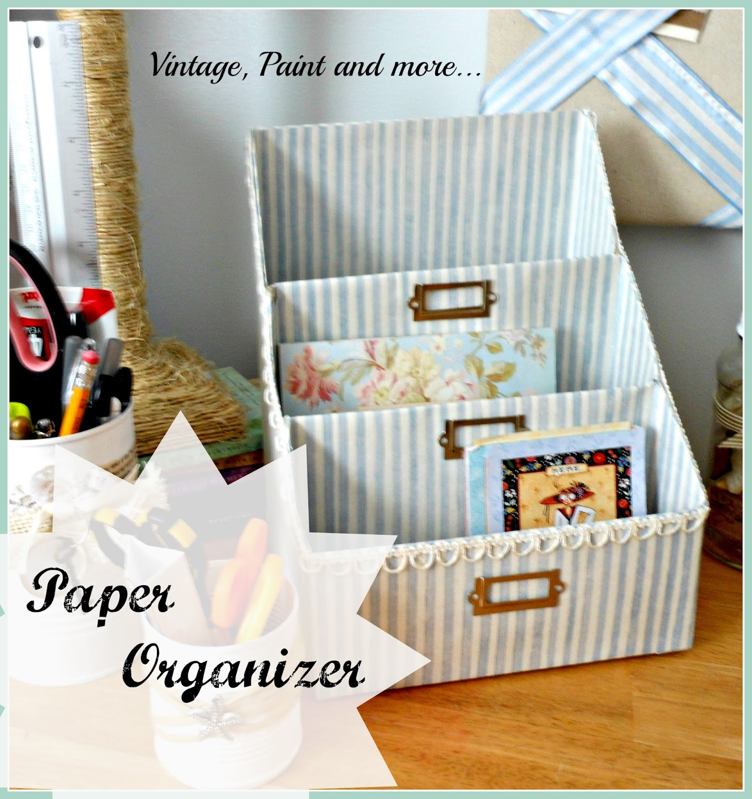 Vintage, Paint and more... paper organizer made from cereal boxes and scrapbook paper