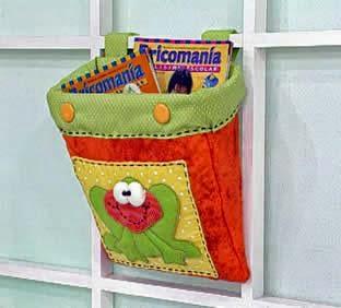 Porta-livros ou revistas de tecido com tema infantil