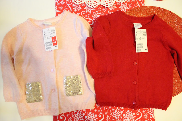 baby cardigans pink with gold sequins and red christmas baby cardigan from H&M