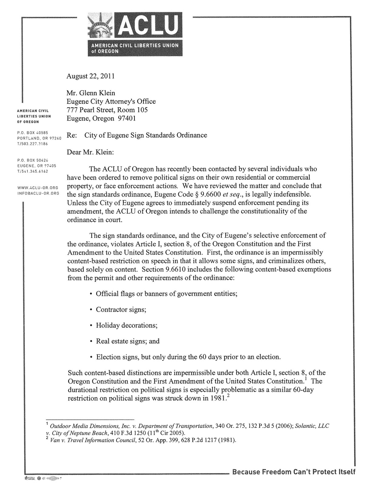 The ACLU Has Written Eugeneu0027s City Attorney A Letter Of Intent Over The  Cityu0027s Sign Code.
