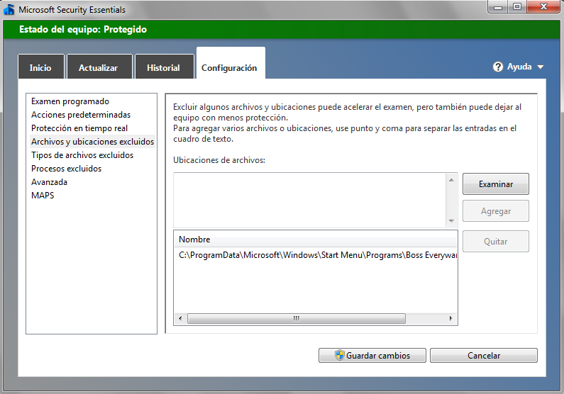 exclusion antivirus bosseveryware