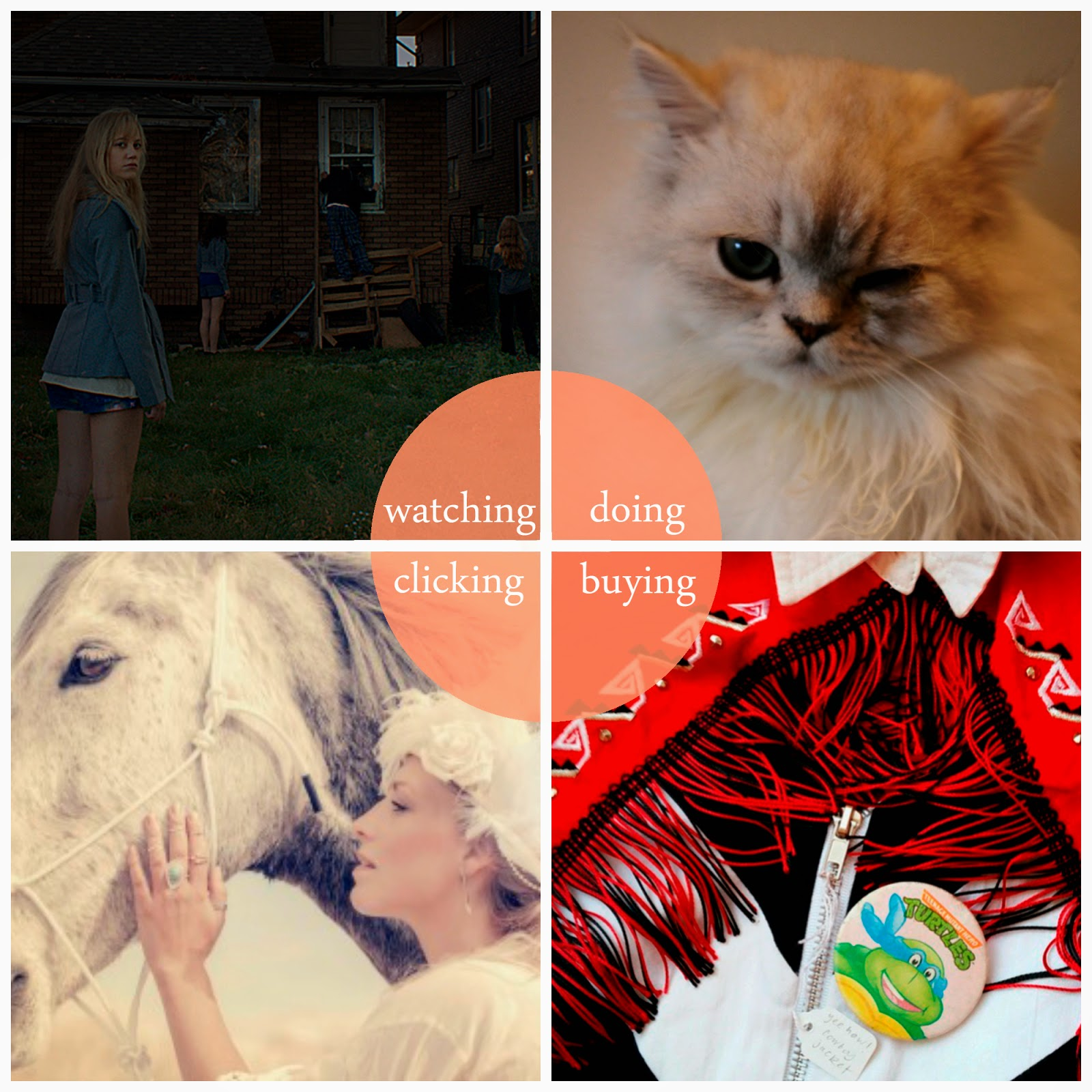 round up, best bits, April, highlights, It Follows, cinema trip, horror movie, Maison de Moggy, Edinburgh Cat Cafe, cat, vintage, Carnaby Market, cowgirl jacket, Neuk vintage, Bloody Mary Metal, BMM, TeamBMM, Wild Horses
