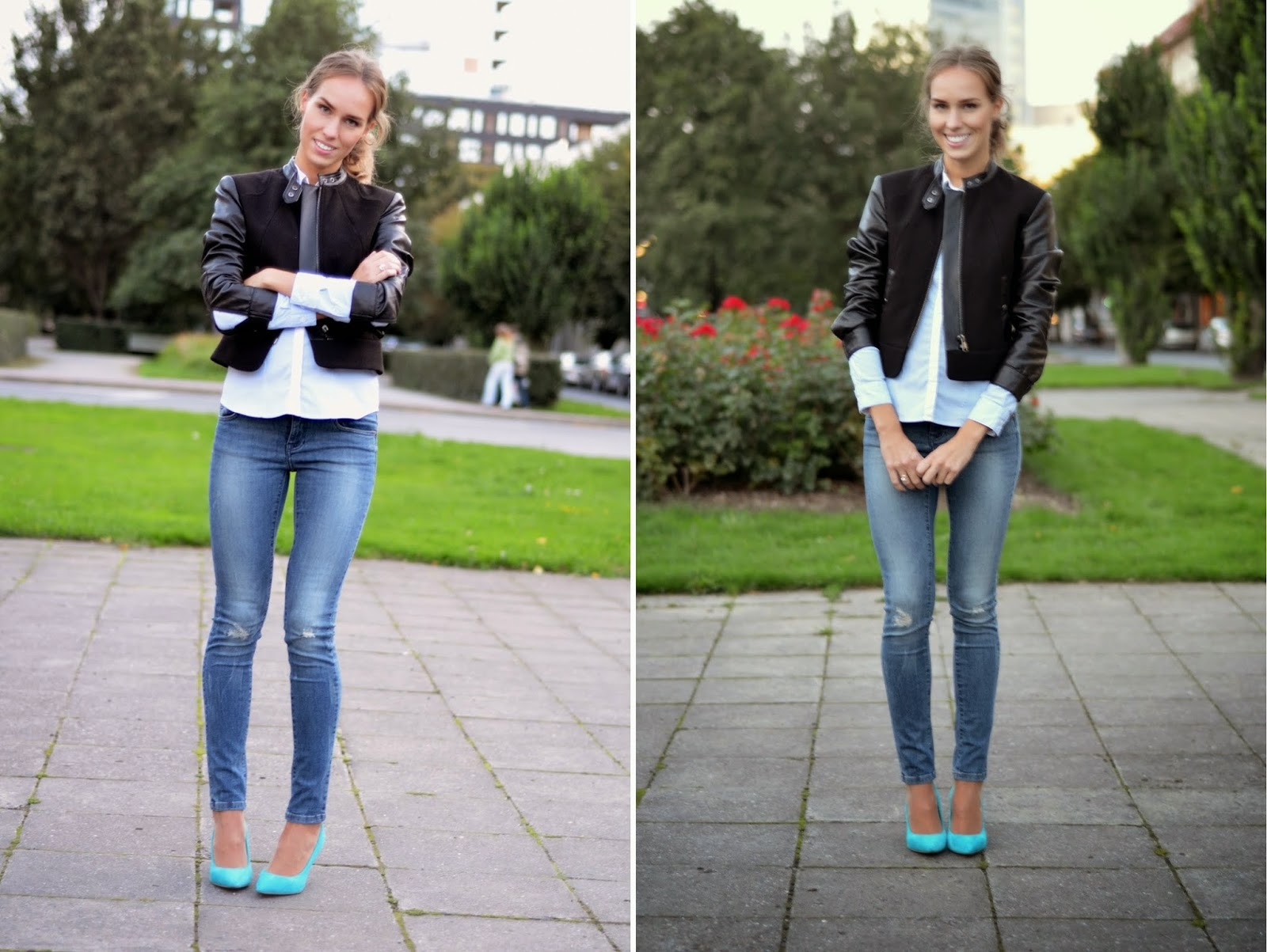 hm-jacket-shirt-zara-jeans-river-island-electric-blue-heels