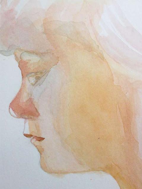 ojos y nariz pintados en acuarela