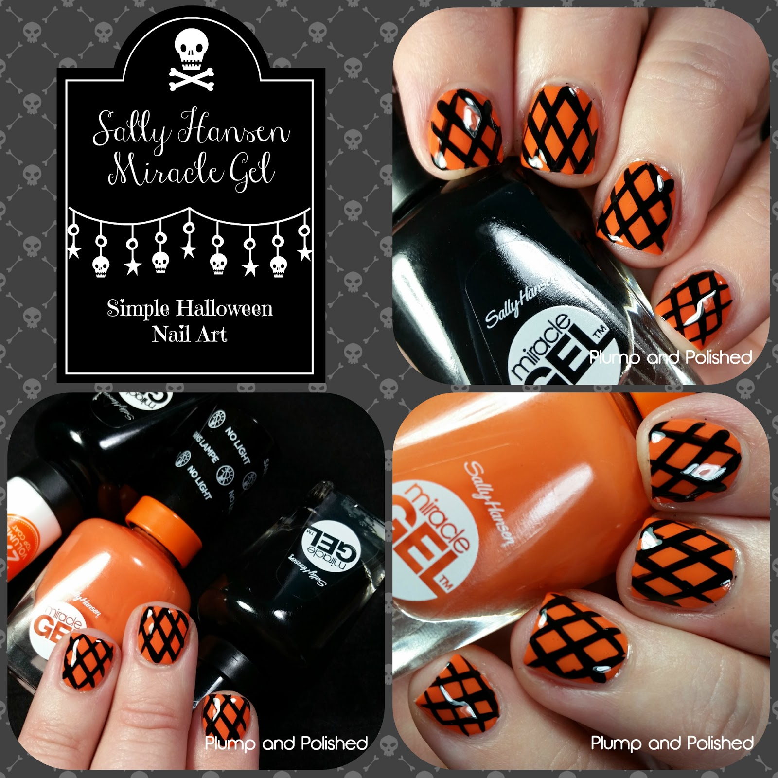 Plump And Polished Sally Hansen Miracle Gel Simple Halloween Nail Art
