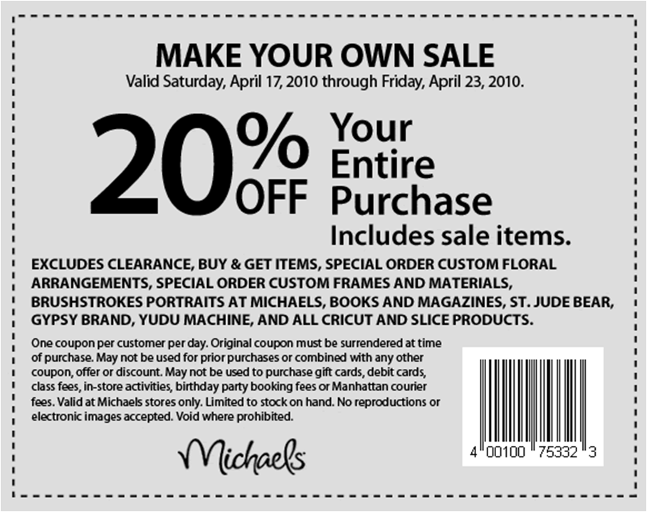 Valid On Friday November 28 2014 To Thursday December 4 2014Make Something Special With A Michaels Coupon Code From Groupon