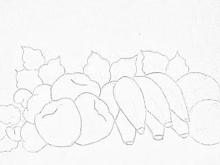 desenho bananas com macas e cajus para pintar