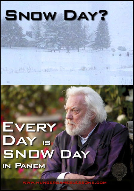 Snow day? Every day is Snow Day in Panem. www.hungergameslessons.com