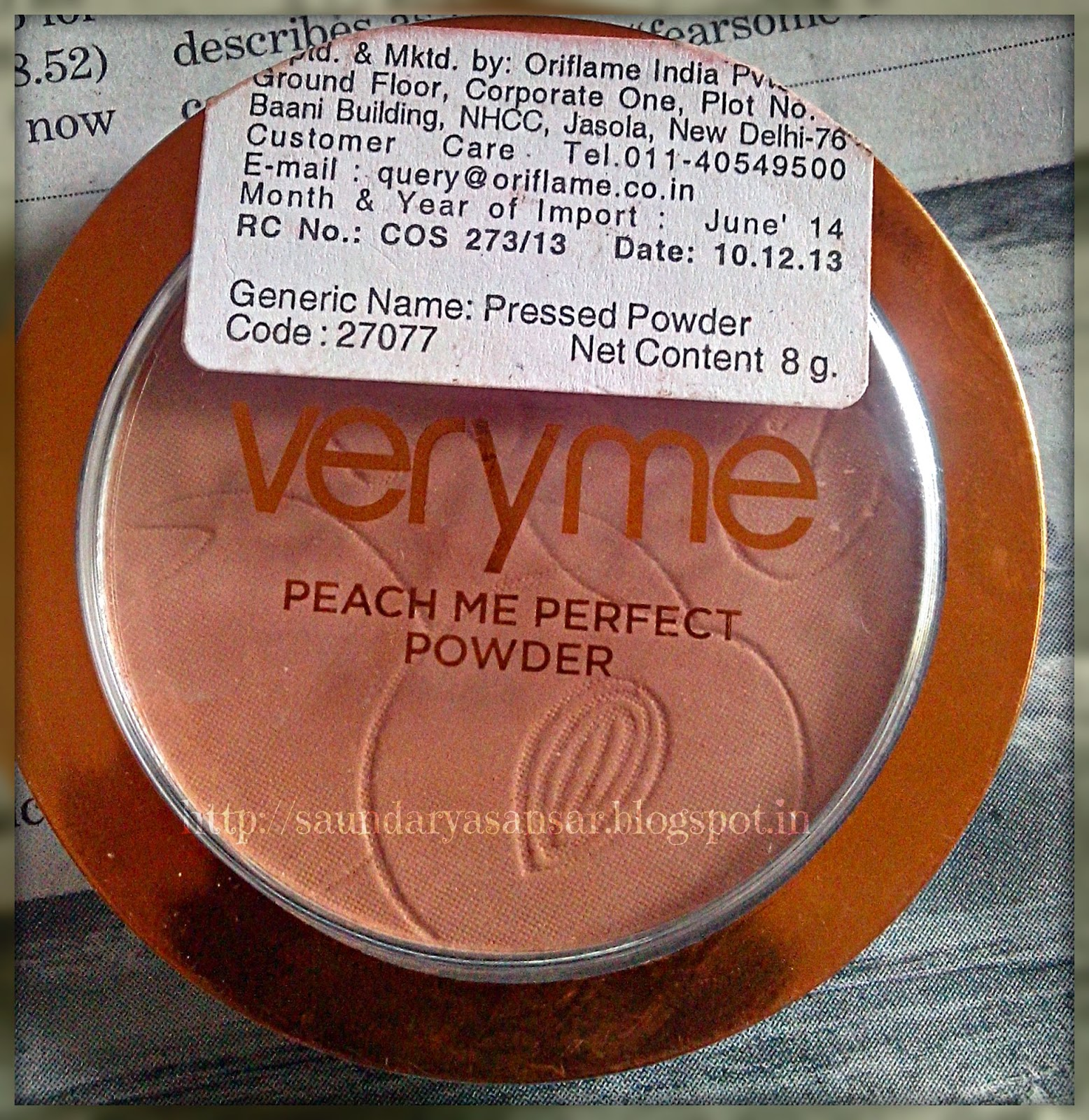 Oriflame VERY ME- Peach Me Perfect Powder- Clear Price,Review