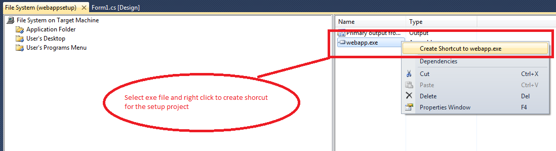 create shortcut in setup project