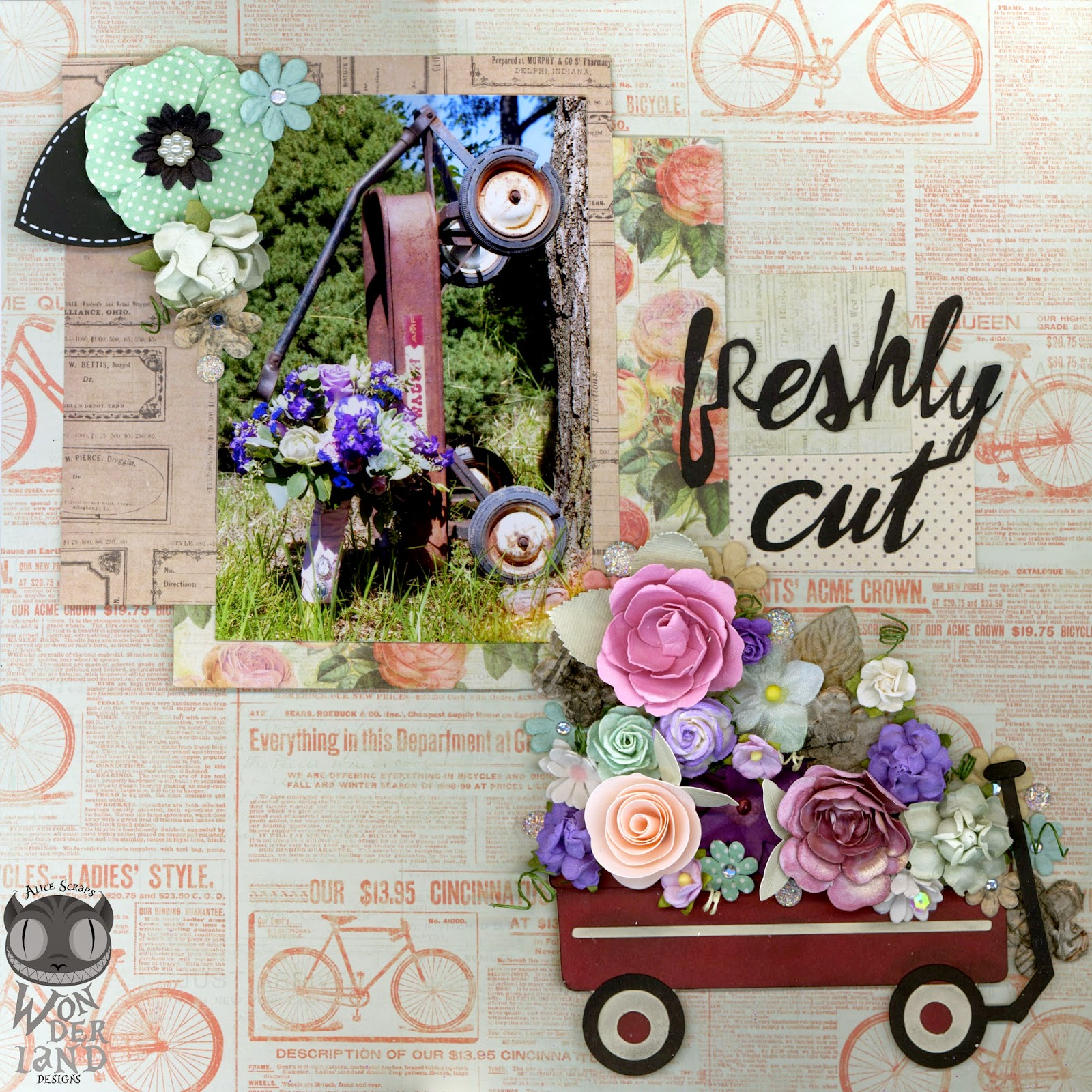 scrapbook, scrapbooking, custom made, handmade, flowers, Prima Marketing, wedding, Something Blue, wagon, vintage, bicycle, bouquet, hydrangea, rose, succulents, lisianthus, paper crafting, toy wagon, die cut