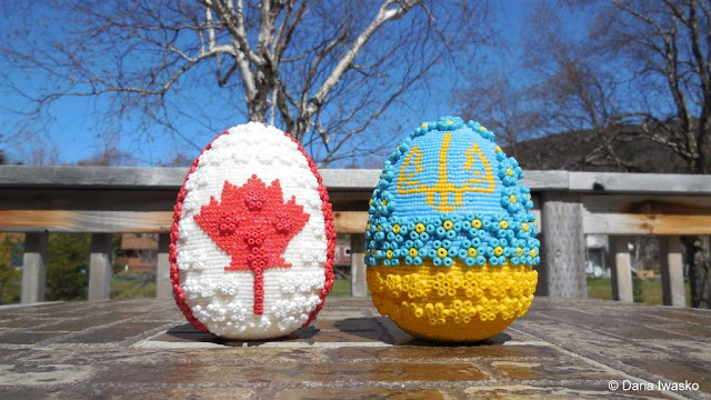 Canadian and Ukrainian Flags on Beaded Easter Eggs by Ukrainian-American Artist Daria Iwasko